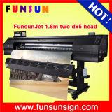 impressora solvente de Eco do grande formato do plotador da bandeira do cabo flexível da película de 1.8m 1440dpi Funsunjet com cabeça de cópia Dx5