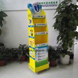 Visualizzazione di pavimento rotativa del cartone con le mensole per il balsamo medicato di Woodlock, banco di mostra creativo del cartone della Cina