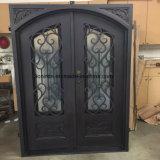 Artes e porta de entrada feita sob encomenda Crafted do ferro da parte superior da sobrancelha
