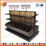 Metal y estantería de pared de madera de la góndola de la visualización del supermercado de los estantes (Zhs429)