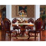 Speisetisch mit ledernem Sofa-Stuhl für Esszimmer-Möbel (681)