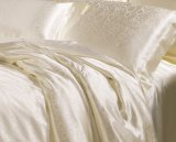 Taihuの雪の絹の固体贅沢なジャカードアイボリーの白の100%年のクワ絹の寝具セット