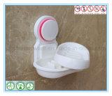 Cestino della stanza da bagno del supporto del sapone dell'ABS con la tazza di aspirazione per fissato al muro