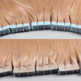ブラウンの毛の拡張40PC/Set皮透過のWeftテープ毛はつく