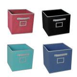 Caixa de armazenamento de dobramento não tecida da tela com suporte de cartão, caixas de armazenamento dobráveis da tela