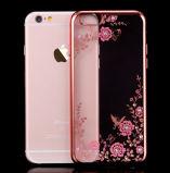 Geval van de Telefoon van het Plateren TPU van Bling van de bloem het Transparante Zachte Duidelijke voor iPhone van de Appel 6 6s plus