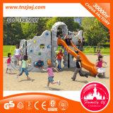 De Kinderen die van het Pretpark de Sportuitrusting van de Speelplaats beklimmen