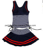 方法は女の子の水着の子供の水着の子供の摩耗を縞で飾った