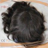 メンズレースのかつら、人間の毛髪上塗を施してあるPUの多境界のToupee