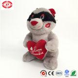 Raccon met Stuk speelgoed van de Pluche van de Gift van de Valentijnskaart van de Kus van de Liefde van het Hart het Zachte