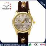 女性の腕時計(DC-631)のためのギフトのクリスマスの金時計の水晶動きの腕時計のダイヤモンドのシリコーンストラップの腕時計