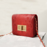 赤い防水PUの折り返し袋の潮女性のショルダー・バッグ(A065-2)