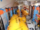Sac d'eau jaune pour le test de chargement du bateau de sauvetage