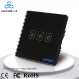 Sankou Black Glass Panel 3 Gang Classical Electronic Touch su Home Glass Touch Sensor Light Switch