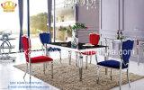 Table+Chair를 식사하고/가구/스테인리스 식탁 + 의자/유리제 테이블 차린/식탁 고정되는 Sj838+Cy038 식사하기