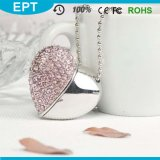 USB Flash Drive ювелирных изделий 8GB Silver Crystal Heart Shape с Necklace