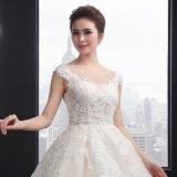 O-Ansatz Sleeveless Appliques-Hochzeits-Kleid (SLD006)