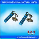 Förderung-Metalschlüsselring PU ledernes Keychain mit Stempel-Firmenzeichen