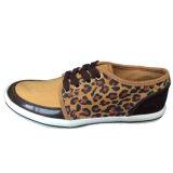 Breathable Brown/желтым ботинок кожи замши сделанный по образцу леопардом вскользь для людей
