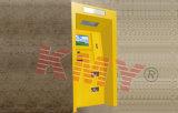 벽 지불 끝 ATM 간이 건축물 기계를 통해서