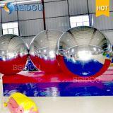 Decorativos Bolas de espejos al por mayor de 2 m de oro flotante inflable rojo del disco de la bola de espejo