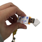 USB Flash Drive do azul e do White Porcelain 4GB (QHC)