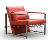 Poltrona di cuoio della sede dei piedi dell'acciaio inossidabile della mobilia di Divany (D-78)