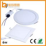 6W que se enciende alrededor de la luz de techo ultrafina de la lámpara del panel del LED (>90lm/w CRI>85 PF>0.9 3 años de garantía)