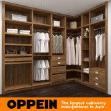 Guardarropa de madera del armario sin llamar de la melamina moderna de Oppein con el espejo (YG16-M07)