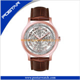 Mode Swatchful Montre en cuir marron Montre à quartz rose pour dames