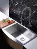 Bassin de cuisine fabriqué à la main de cuvette simple d'avant de tablier d'acier inoxydable