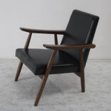 Design moderno Solid Wood Sofa Chair con Leather Soft