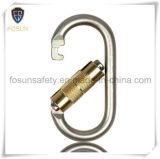 Carabiner de autoretención de acero plateado cinc