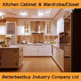 Gabinete de cozinha americano da madeira contínua do estilo com parte superior contrária de quartzo