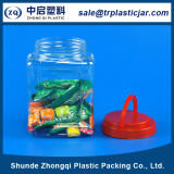 Transparent quadrato Pet Plastic Jar con Plastic Cover