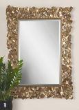 Specchio incorniciato rifinito antico decorato della stanza da bagno della parete del foglio di oro di rettangolo
