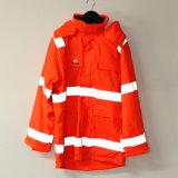 Померанцовые с капюшоном куртка PU/плащ/износ отражательных/безопасности деятельности для взрослого