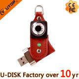 고급 회전대 금속과 가죽 USB 섬광 드라이브 (YT-5114)