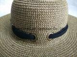 Sombrero negro de Briad del papel de la bufanda de Floopy del color del borde del estilo grande mezclado de la playa