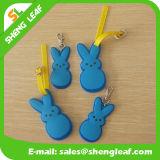 Forma de conejo de Cartton de PVC de goma etiqueta del equipaje (SLF-LT055)