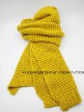 Шарф акриловой Unisex зимы теплый обыкновенный толком желтый основной связанный