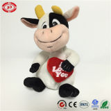 Brinquedo bonito de assento enchido popular novo da vaca do amor do coração do luxuoso