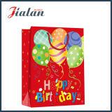 Sac de papier stratifié lustré de cadeau d'achats de ballon d'anniversaire de papier en ivoire