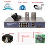 2 Giga SFP와 2 결합 () Ge Tx 10/100Mbps를 가진 8 운반 Poe 스위치 통신망 스위치 (TS1208F-120)