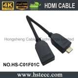 mini macho de 65FT ao cabo fêmea de HDMI com canaleta do Ethernet