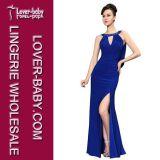 Горячей длинней платье голубых женщин МНОГОТОЧИЯ польки втулок плиссированное печатью вскользь (L36009)