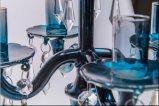Держатель для свечи плаката сини 5 стеклянный для украшения венчания