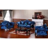 Sofá de couro com frame do sofá e a tabela de madeira do lado (D987A)