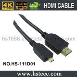 Золото покрыло кабель разъема микро- HDMI при поддержанные локальные сети 3D
