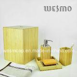 Banho de bambu lavado branco do revestimento ajustado (WBB0301D mais o escaninho waste)
